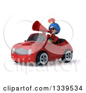 Clipart Of A 3d Colorful Clown Wearing Sunglasses Announcing With A Megaphone And Driving A Red Convertible Car 2 Royalty Free Illustration