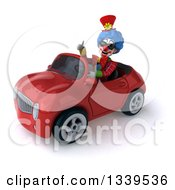 Clipart Of A 3d Colorful Clown Wearing Sunglasses Giving A Thumb Up And Driving A Red Convertible Car Royalty Free Illustration
