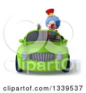 Clipart Of A 3d Colorful Clown Giving A Thumb Down And Driving A Green Convertible Car Royalty Free Illustration