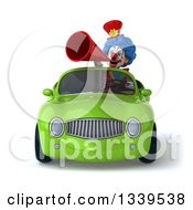 Clipart Of A 3d Colorful Clown Announcing With A Megaphone And Driving A Green Convertible Car Royalty Free Illustration