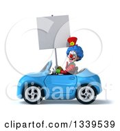 Clipart Of A 3d Colorful Clown Holding A Blank Sign And Driving A Blue Convertible Car 2 Royalty Free Illustration