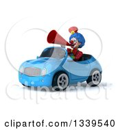 Clipart Of A 3d Colorful Clown Announcing With A Megaphone And Driving A Blue Convertible Car 2 Royalty Free Illustration