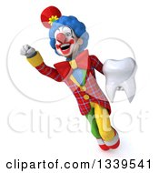 Clipart Of A 3d Colorful Clown Holding A Tooth And Flying Royalty Free Illustration