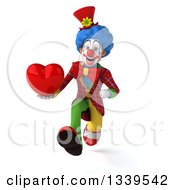 Clipart Of A 3d Colorful Clown Holding A Love Heart And Sprinting Royalty Free Illustration