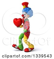 Clipart Of A 3d Colorful Clown Holding A Love Heart And Walking To The Left Royalty Free Illustration