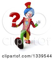 Clipart Of A 3d Colorful Clown Holding A Question Mark Speed Walking And Waving Royalty Free Illustration