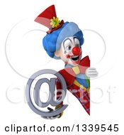 Clipart Of A 3d Colorful Clown Holding An Email Arobase At Symbol And Looking Around A Sign Royalty Free Illustration