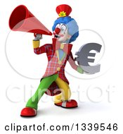 Clipart Of A 3d Colorful Clown Holding A Euro Currency Symbol And Announcing With A Megaphone Royalty Free Illustration