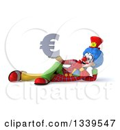 Clipart Of A 3d Colorful Clown Holding A Euro Currency Symbol And Resting On His Side Royalty Free Illustration