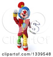 Clipart Of A 3d Colorful Clown Holding A Dollar Currency Symbol And Flying Royalty Free Illustration