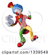 Clipart Of A 3d Colorful Clown Holding A Dollar Currency Symbol And Jumping Royalty Free Illustration