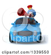Clipart Of A 3d Colorful Clown Announcing With A Megaphone And Driving A Blue Convertible Car Royalty Free Illustration