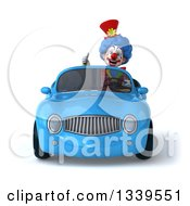 Clipart Of A 3d Colorful Clown Giving A Thumb Up And Driving A Blue Convertible Car Royalty Free Illustration