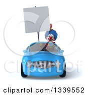 Clipart Of A 3d Colorful Clown Holding A Blank Sign And Driving A Blue Convertible Car Royalty Free Illustration