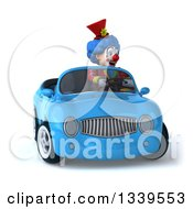 Clipart Of A 3d Colorful Clown Driving A Blue Convertible Car Royalty Free Illustration