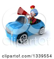 Clipart Of A 3d Colorful Clown Announcing With A Megaphone And Driving A Blue Convertible Car 3 Royalty Free Illustration