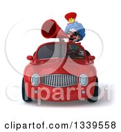 Clipart Of A 3d Colorful Clown Wearing Sunglasses Announcing With A Megaphone And Driving A Red Convertible Car Royalty Free Illustration