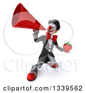 Clipart Of A 3d White And Black Clown Holding A Strawberry And Announcing Up To The Left With A Megaphone Royalty Free Illustration