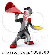 Clipart Of A 3d White And Black Clown Holding A Banana And Announcing Up To The Left With A Megaphone Royalty Free Illustration