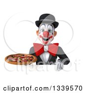 Clipart Of A 3d White And Black Clown Holding A Pizza Over A Sign Royalty Free Illustration