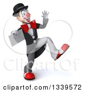 Clipart Of A 3d White And Black Clown Facing Slightly Right Dancing Waving And Holding An Envelope Royalty Free Illustration