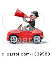 Clipart Of A 3d White And Black Clown Announcing With A Megaphone And Driving A Red Convertible Car Royalty Free Illustration