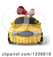 Clipart Of A 3d Young White Businessman Announcing With A Megaphone And Driving A Yellow Convertible Car Royalty Free Illustration
