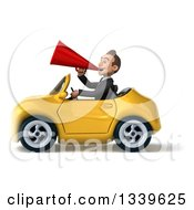 Clipart Of A 3d Young White Businessman Announcing With A Megaphone And Driving A Yellow Convertible Car 2 Royalty Free Illustration