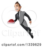 Clipart Of A 3d Young White Businessman Holding A Beef Steak And Flying Royalty Free Illustration