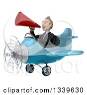 Clipart Of A 3d Young White Businessman Pilot Flying A Blue Airplane And Announcing With A Megaphone Royalty Free Illustration
