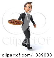 Clipart Of A 3d Young White Businessman Holding A Pizza And Walking Slightly To The Right Royalty Free Illustration
