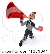Clipart Of A 3d Young White Businessman Holding A Tomato And Announcing Up To The Left With A Megaphone Royalty Free Illustration