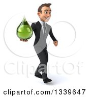 Clipart Of A 3d Young White Businessman Holding A Green Tincture Medicine Drop And Walking Slightly To The Right Royalty Free Illustration