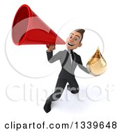 Clipart Of A 3d Happy Young White Businessman Holding An Amber Medicine Tincture Droplet And Announcing With A Megaphone Royalty Free Illustration