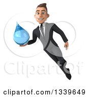 Clipart Of A 3d Happy Young White Businessman Flying And Holding A Water Drop Royalty Free Illustration by Julos