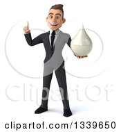Clipart Of A 3d Young White Businessman Holding Up A Finger And A Milk Soap Or Shampoo Drop Royalty Free Illustration