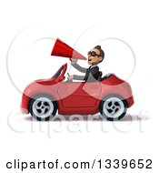 Clipart Of A 3d Young White Businessman Wearing Sunglasses Announcing With A Megaphone And Driving A Red Convertible Car Royalty Free Illustration