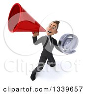Clipart Of A 3d Young White Businessman Holding An Email Arobase At Symbol And Announcing Upwards With A Megaphone Royalty Free Illustration