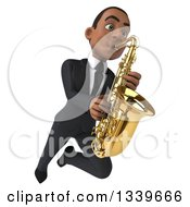 Clipart Of A 3d Happy Young Black Businessman Flying And Playing A Saxophone 4 Royalty Free Illustration by Julos