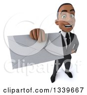 Clipart Of A 3d Happy Young Black Businessman Holding Up An Envelope 2 Royalty Free Illustration