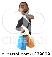 Clipart Of A 3d Happy Young Black Businessman Holding Shopping Bags Around A Sign 2 Royalty Free Illustration