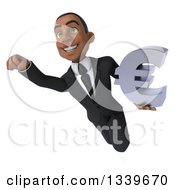 Clipart Of A 3d Happy Young Black Businessman Holding A Euro Symbol And Flying Royalty Free Illustration