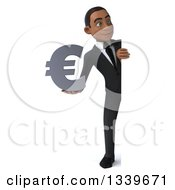 Clipart Of A 3d Full Length Happy Young Black Businessman Holding A Euro Symbol And Looking Around A Sign Royalty Free Illustration