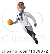 Clipart Of A 3d Young Black Male Nutritionist Doctor Holding A Navel Orange And Flying Royalty Free Illustration