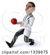 Clipart Of A 3d Young Black Male Nutritionist Doctor Holding A Tomato And Speed Walking To The Left Royalty Free Illustration