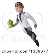 Clipart Of A 3d Young Black Male Nutritionist Doctor Holding A Green Bell Pepper And Flying Royalty Free Illustration