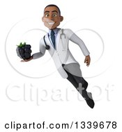 Clipart Of A 3d Young Black Male Nutritionist Doctor Holding A Blackberry And Flying Royalty Free Illustration