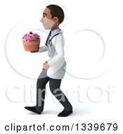 Clipart Of A 3d Young Black Male Nutritionist Doctor Holding A Pink Frosted Cupcake And Walking To The Left Royalty Free Illustration