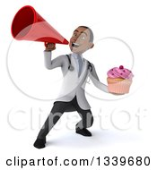 Clipart Of A 3d Young Black Male Nutritionist Doctor Holding A Pink Frosted Cupcake And Announcing With A Megaphone Royalty Free Illustration