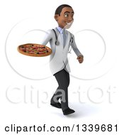 Clipart Of A 3d Young Black Male Nutritionist Doctor Holding A Pizza And Walking To The Right Royalty Free Illustration